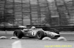 "COYOTE-FORD A J Foyt at speed  Riverside USAC 1968 10x7"" b&w photo"